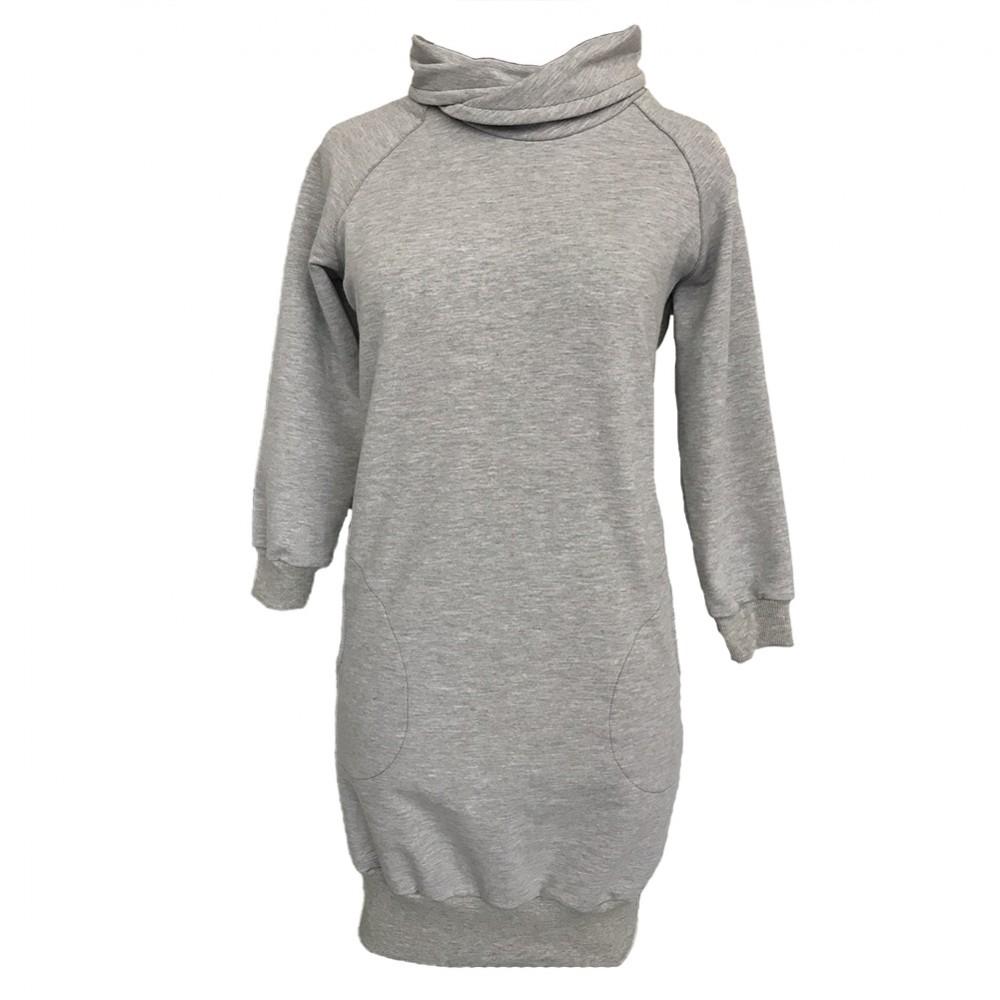 e6008cdde637 Dámské mikinové šaty šedé